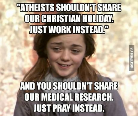 Hypocrisy. And lets ignore the fact that most of their  holidays were stolen from pagans anyway.