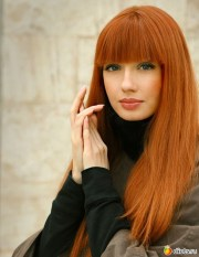 long red hair with straight bangs