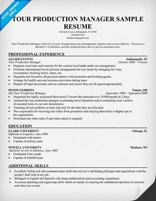 Tour Production #Manager Resumecompanion Com Resume