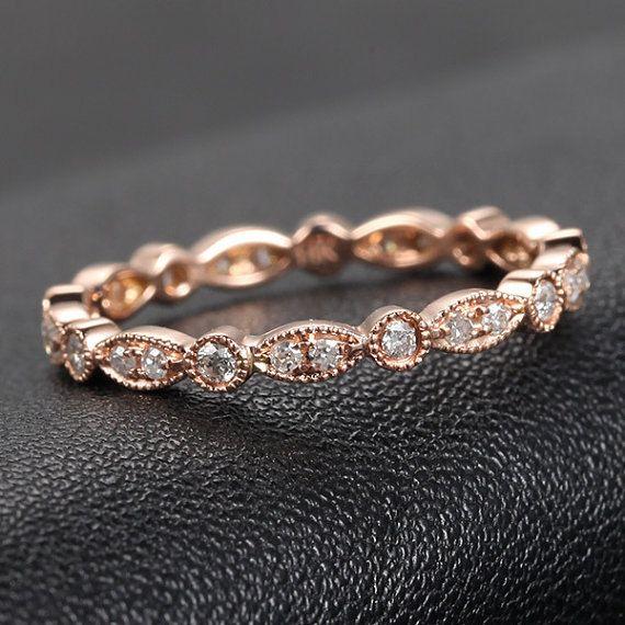 Art Deco SI-H Diamond Ring, .32ct Diamond Eternity Band, Milgrain Antique Style,14K Rose Gold /Yellow Gold/White Gold Metal,Anniversary