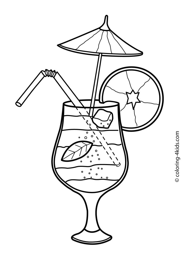 Summer cocktail coloring pages for kids, free, printable