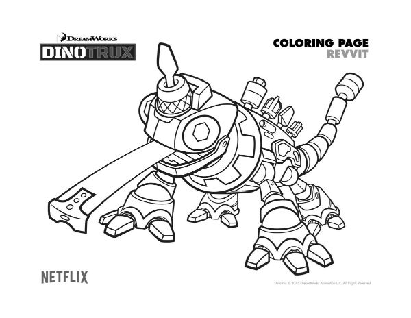 free dinotrux revvit coloring page  printable coloring