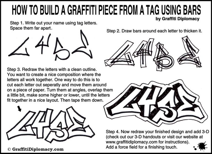 how to draw graffiti 3d letters step by step on paper