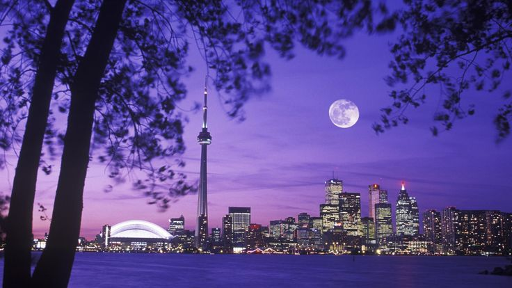 Travel Background Hd Wallpapers Free Niagra Falls Cool Night Toronto Skyline Night Moon Scenery