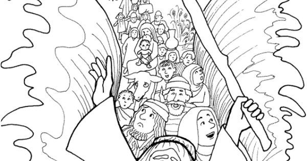 Moses Parting the Red Sea Coloring Page [Israelites Cross
