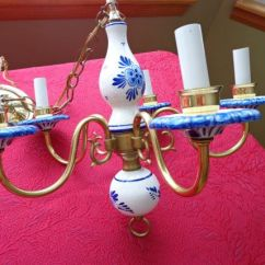 Hanging Lighting Fixtures For Kitchen Ceramic Tile Delft Chandelier, Crackle Look Blue White ...