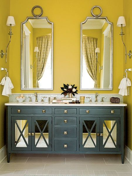 yellow and grey bathroom mirror bathroom - slate blue vanity and yellow/green walls | Home Styles | Pinterest | Bathrooms decor