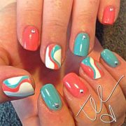 blue coral nail design 2014