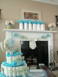 Blue and green elephant baby shower decorations | Elephant ...