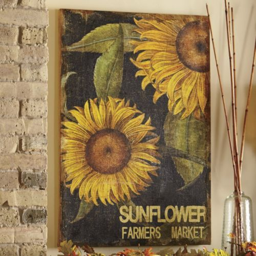 kitchen cabinets door handles black granite countertops sunflower print on burlap from through the country ...