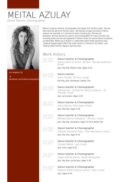 Dance Teacher & Choreographer Resume Example Lifelong