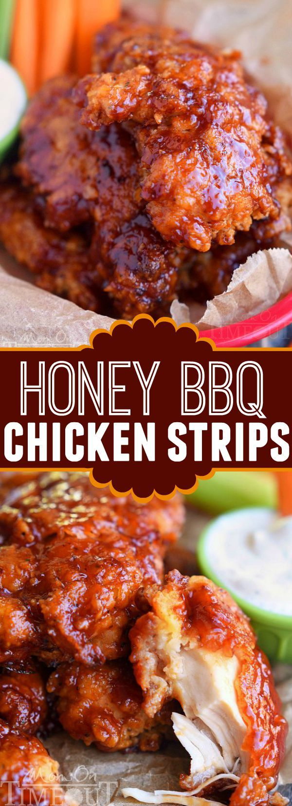 Honey BBQ Chicken Strips – Perfect for dinner or game day! Marinated in buttermilk and perfectly seasoned, these strips are hard