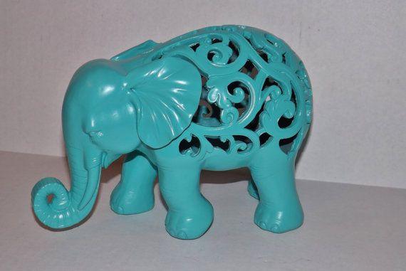 Teal Elephant Statue / Figurine / Modern Home Decor