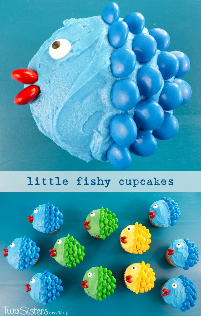 Little Fishy Cupcakes – so adorable and so easy to make! Cant resist their little fishy mouths!