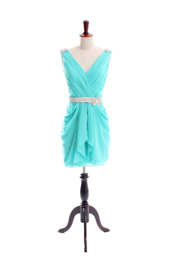 Sexy v-neck chiffon knee length dress @Tori Sdao Seidel look at the website they