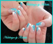 angled french manicure in glitter-blue