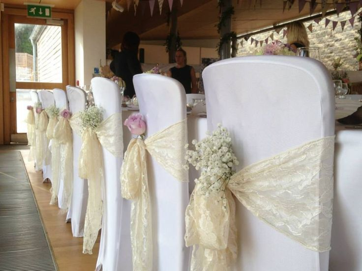 wedding chair sashes  Google Search Babys breath tucked