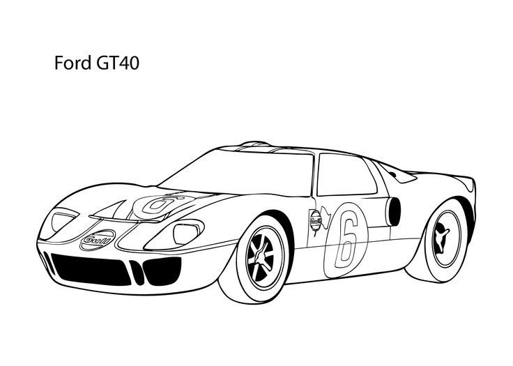 Super car Ford GT40 coloring page, cool car printable free