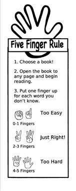 Five Finger rule book mark. Make into a bulletin board