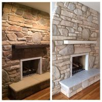 White washed stone fireplace using Annie Sloan chalk paint ...