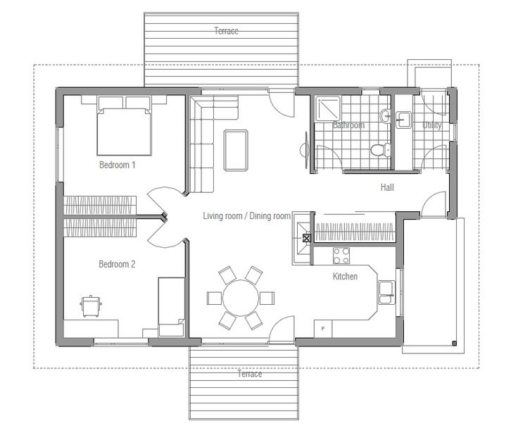 Two Bedroom, small and affordable house plans. Floor Plan