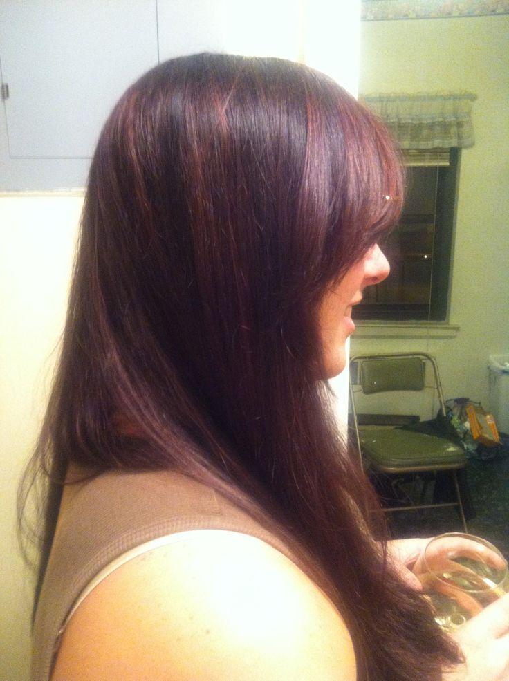 Plum highlights on medium brown hair   Hair Art by