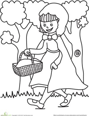 Preschool Fairy Tales Worksheets: Color the Little Red