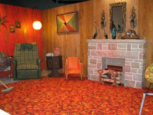 Museum celebrates 70s with display of shag rugs and wood panelling  Glass art Shag carpet and