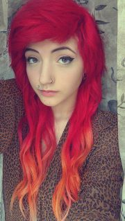 red ombre dip dyed hair