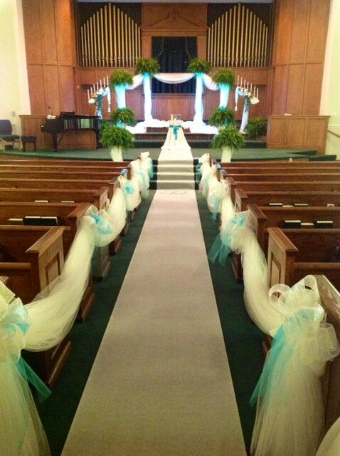 Teal church wedding by Elegant Happenings  Wedding