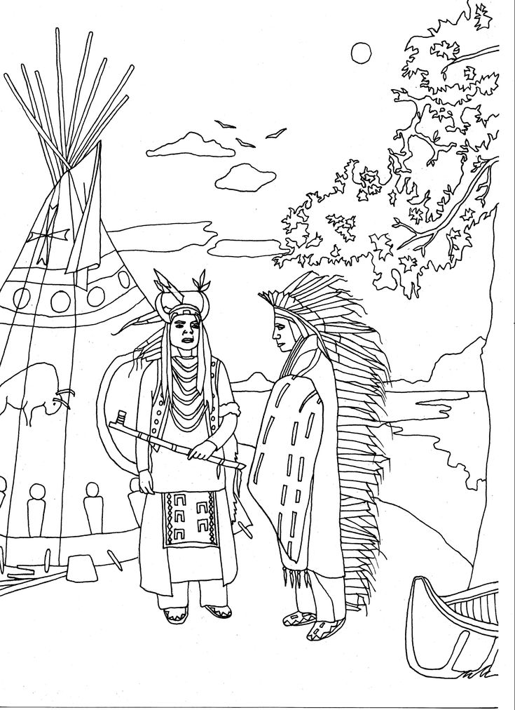 Free coloring page coloring-adult-two-native-americans-by