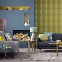 Blue and yellow living room Graphic wallpaper teamed with ...