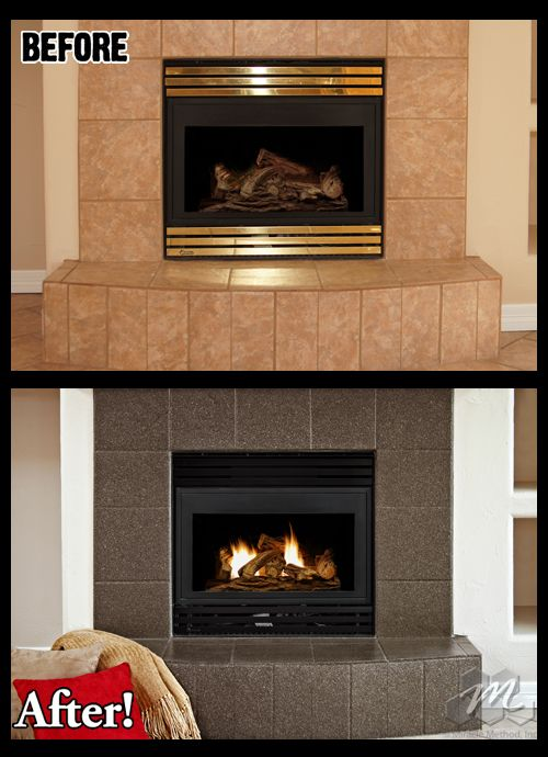 Fireplace tile refinished by Miracle Method This tile was