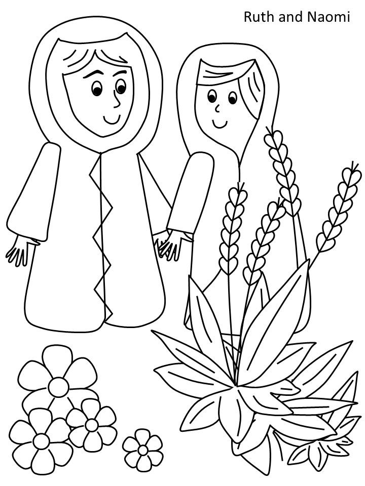 ruth and naomi coloring page  children's bible lessons