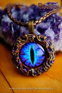 Blue Dragon Eye Pendant-polymer clay jewelry fantasy ...