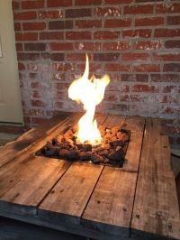 Gas Fire Pit built into a pallet table. Pallet Projects ...