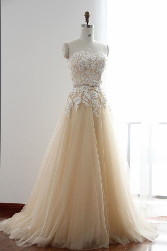 A Line Flower Lace Champagne Wedding Dress by GorgeousBridalGowns  Wedding gowndresses