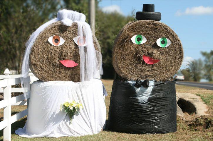 round bale bride and groom  Farm Wedding  Pinterest  Funny Wedding and Barn wedding photos