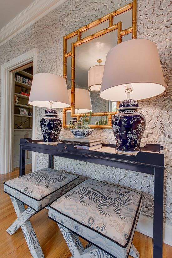 Celerie Kemble Feather Bloom Two Blues Wallcovering  Clarence house and Schumacher