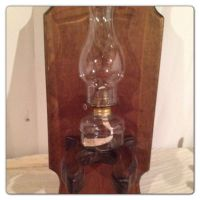 Vintage Wood Hurricane Oil Lamp Holder Shelf on Etsy, $16 ...