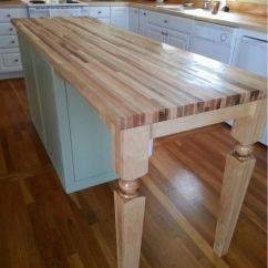 Butcher Block Kitchen Islands Long Narrow Table Furniture Chic Island Wood Posts For Breakfast Bar ...