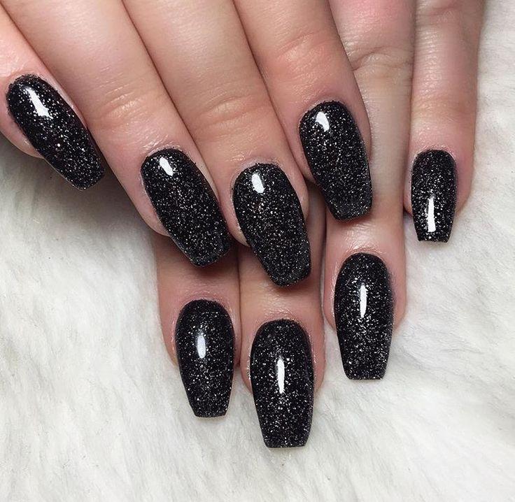Best 20+ Black Glitter Nails ideas on Pinterest