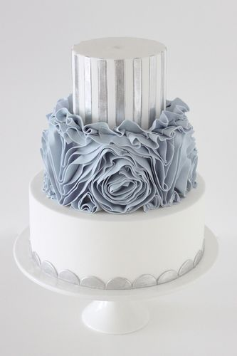 White blue and silver cake