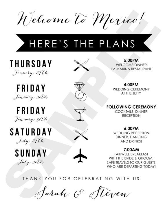 17 Best ideas about Wedding Weekend Itinerary on Pinterest