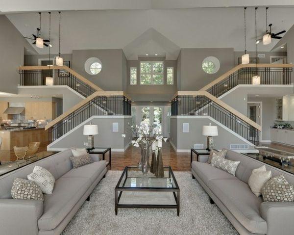 luxus wohnzimmer auf 2 ebenen sofas glastisch dekoideen | ifmore