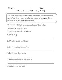 Meanings Idioms Worksheet Part 1 | Teaching - Reading ...