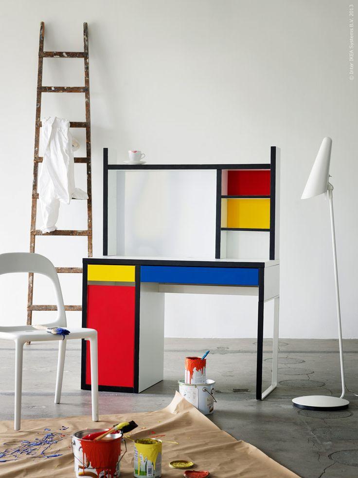 Clever Ikea Hack Mondrian Inspired Micke Desk Cute In A