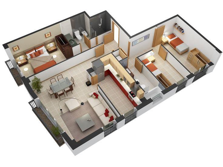 3 Bedroom Design in 3D Small House Floor Plans 2015 3dfloorplan smallhouseplan smallhomeplan