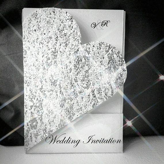 Vanessa Heart Shaped Invite Cut Out Glitter Silver Lace
