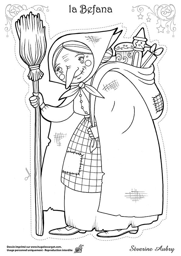 Dessin à colorier d'un des héros de Noël, la Befana, page